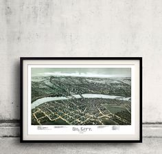 Bird's eye view of Oil City - Pennsylvania - 1896 - FREE SHIPPING - SKU 0212 by PaulMaps on Etsy