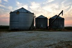 Grainbins at Sunset Noxubee County Mississippi