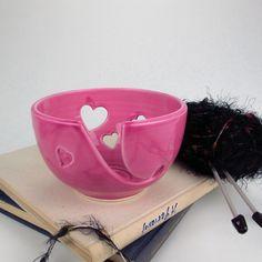 Fuchsia Pink Ceramic Yarn Bowl, Hot Pink Heart Knitting Yarn Holder by BlueRoomPottery   BlueRoomPottery... plus (+)