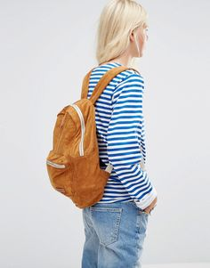 Image 3 ofPull&Bear Sueduette Backpack In Camel