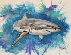 Shark, jaws, great white, art, watercolor, ocean, angler, gills, fishing #Impressionism