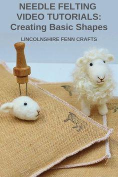 Needle Felting Video Tutorial - Creating Basic Shapes Felt along workshop style . Wool Needle Felting, Needle Felting Tutorials, Needle Felted Animals, Nuno Felting, Felt Animals, Beginner Felting, Felted Wool Crafts, Felt Crafts, Sheep Crafts