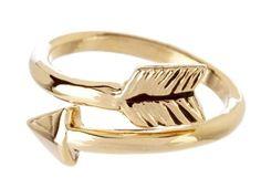 Ceek 24k gold plated wrap-around Arrow ring (adjustable)