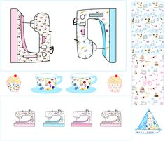 Sewing Machine Cover fabric by de-ann_black on Spoonflower - custom fabric
