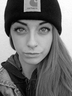 Septum and nose- this is actually closer to what it would look like on me, because I have a nose ring already...