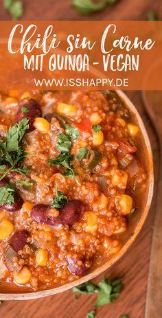 Einfaches und gelingsicheres Rezept für veganes Chili sin Carne mit Quinoa. Lecker, vollwertig
