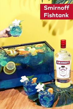 When it comes to our fishbowls, we're okay with thinking inside the tank. Recipe: Smirnoff No. 21 Vodka 5 L Lemonade L Curacao liqueur Little gummy fish Serves 40 Party Drinks, Cocktail Drinks, Fun Drinks, Alcoholic Drinks, Beverages, Cocktails, Smirnoff, In Vino Veritas, Luau Party