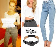 Perrie Edwards: Crop Top, High-Waist Jeans | Steal Her Style