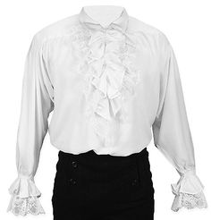 Steampunk Mens White Solid Point Collar Dress Shirt | Gothic | Pirate | LARP | Cosplay | Retro | Vampire || Bellamy Shirt - White
