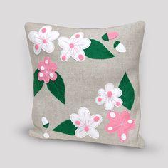 Sakura, coussin décoratif, fleurs de cerisier, printemps, fleurs, déco salon, salle de séjour, taie d'oreiller, rose fleurs de printemps.
