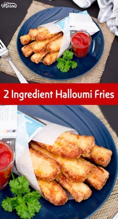 This is literally the best recipe in the whole wide world EVER! If you love cheese, you will love these amazing Halloumi Fries. Made with just 2 ingredients in about 20 minutes, you'll be licking your fingers before you know it. Halloumi Chips, Baked Halloumi, Cooking Halloumi, Hallumi Recipes, Veggie Recipes, Cooking Recipes, Polenta Recipes, Recipies, Snack Recipes