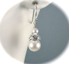 Pearl Bridal Earrings Ivory or White Pearl by AzureTreasures.
