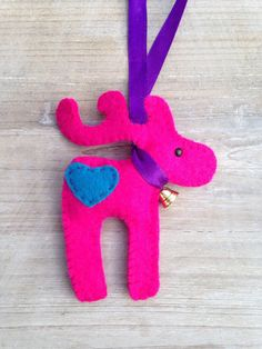 Hot pink and purple reindeer decoration. by BeausandBumblebees