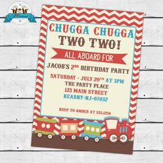 $10.95 Vintage Choo-Choo Train Birthday Party Invitation - Invite Card - Personalized invitation - IN-9