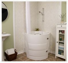 compact walk-in bathtub / shower with 3 foot square footprint, corner or back-to-wall installation Corner Bathtub Shower, Corner Tub, Walk In Bathtub, Tub Shower Combo, Shower Tub, Sitting Bathtub, Tiny Bathrooms, Tiny House Bathroom, Tiny House Shower