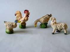 10% OFF: Hand-painted ANIMAL figures of hard rubber. Made in the 50s / 60s. GDR (probably Anton Röder Lisato). Up to 5.7 cm tall. Vintage