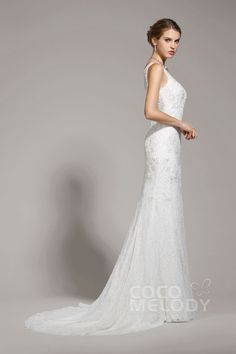 New Design Sheath-Column V-Neck Lace Ivory Sleeveless Wedding Dress with Beading AWZT15004 #weddingdresses #cocomelody #designercollections