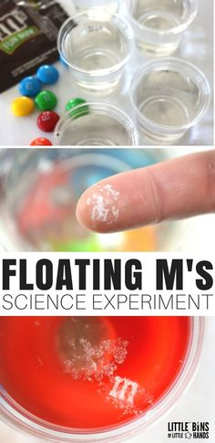 The floating M candy science experiment is easy quick and pretty cool! We went crazy with the candy science candy STEM and candy math activities this year. We have tons of holiday candy leftover and we can totally use it for fun science and STEM instead. Easy Science Experiments, Science Activities For Kids, Preschool Science, Science Lessons, Teaching Science, Science For Kids, Science Fun, Summer Science, Stem Activities
