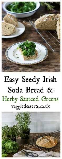 Seedy Soday Bread with Herby Greens | Veggie Desserts Blog  This Irish seedy soda bread with sautéed herby greens is easy and delicious! The yeast-free bread doesn't have to be left to rise and can be cooked immediately. It's deep flavour is lovely against the herby greens. Perfect for St Patricks Day!  veggiedesserts.co.uk