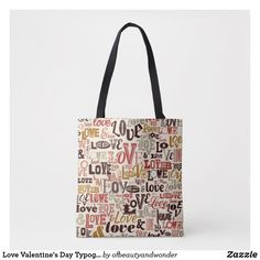 Love Valentine's Day Typography   Tote Bag Love Valentines, Edge Design, Personalized Products, Typography, Reusable Tote Bags, Elegant, Simple, Top, Gifts