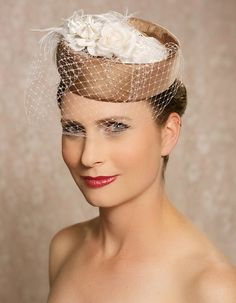 Pillbox Hat in Toffee with ivory accents