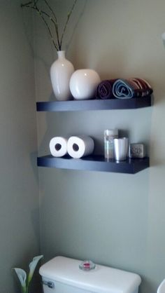 Shelves above the toilet for necessities in the downstairs bathroom