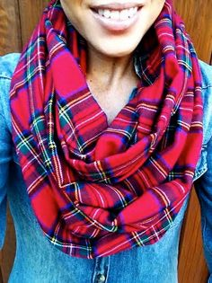 Red Plaid Infinity Scarf Flannel Cozy Scarf by dAnnonEtsy on Etsy