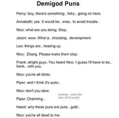 Demigod Puns. In the end, Nico, you cannot escape the making of puns