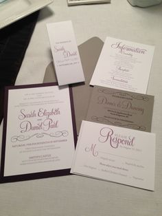 Purple and gray belly band wedding invitation