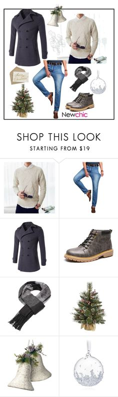 """Newchic49"" by merisa-imsirovic ❤ liked on Polyvore featuring National Tree Company, Swarovski, men's fashion and menswear"