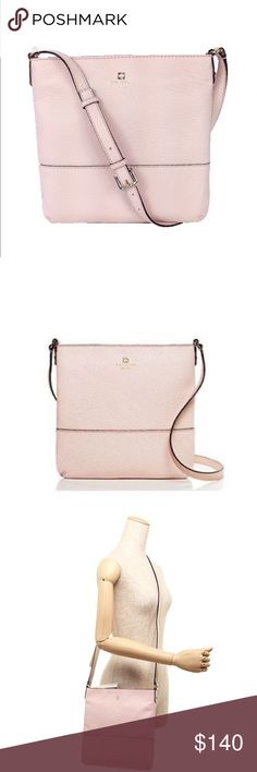 """Kate Spade Cora Crossbody Ballet Slipper Pink Brand new with tags color is ballet slipper pink. Bag still all wrapped up in its original packaging. crafted of a soft pebbled leather and crowned with a zip closure, we think it's ideal for sidewalk strolls and window shopping.  Features Pebble embossed cowhide with matching trim ksny blind embossed signature on license plate Adjustable strap. Zipper closure. Interior double slide pockets and zip pocket 10.1""""h x 10.1""""w x 1.2""""d drop length…"""