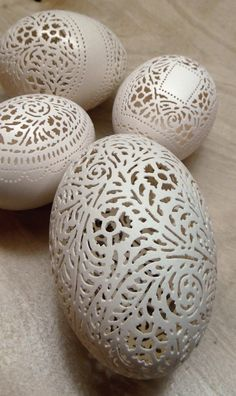 Made to Order - Hand Carved Victorian Lace Goose Egg: Full Floral.