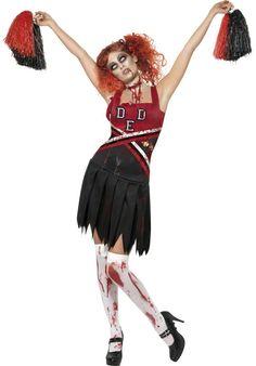 Zombie-Cheerleaderin-Kostüm für Damen: Dieses Zombiecheerleaderin-Kostüm besteht aus einem elastischen, gezackten Kleid mit angenähten Latexknochen auf dem Oberteil, das sich Ihrer Körperform perfekt anpasst, und aus zwei...