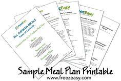 FreezEasy Freezer Cooking Meal Plan ~ Sample Printable www.FreezEasy.com