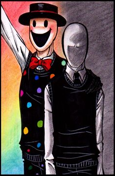 Splendorman and Slenderman/ Reminds me of me and my brother. I'd be Slenderman in this. Creepypasta Slenderman, Creepypasta Characters, Jeff The Killer, Creepy Pasta Family, Eyeless Jack, Laughing Jack, Arte Disney, Fanart, Arte Horror