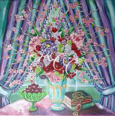 Original Acrylic Painting Bohemian Bouquet by KellyColemanCoursey,