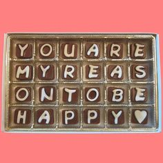 You Are My Reason To Be Happy Cubic Chocolate Letters Unique Love Gift for Men Women Her Him AK APO Canada  Regalos Para Hombres @regaletes