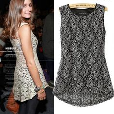 SUMMER NEW FASHION LADIES' TEMPERAMENT LACE SHIRT O NECK SLEEVELESS STYLISH SLIM TOP BRAND QUALITY 1553