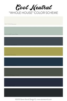 Cool Neutral Whole House Color Scheme: White, light aqua, navy, gray, black and chartreuse. Click through to read the full post!