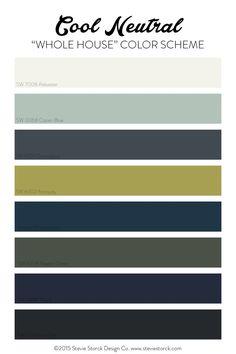 Cool Neutral Whole House Color Scheme White Light Aqua Navy Gray