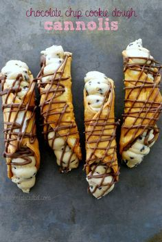 Chocolate Chip Cookie Dough Cannolis