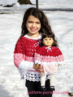 Free Crochet Pattern & Yarn Review - Abby's Poncho   Pattern Paradise Crochet Dollies, Crochet Girls, Crochet For Kids, Free Crochet, Crochet Children, Easy Crochet, Crochet Doll Clothes, Girl Doll Clothes, Doll Clothes Patterns