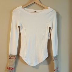 "Just In ""Free People Thermal Top"" Off white Free People Thermal with cuff detailing Free People Tops Tees - Long Sleeve"