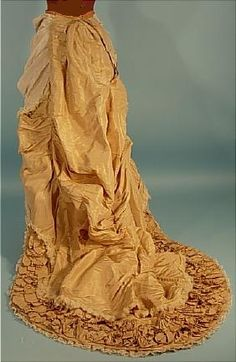 bustle back - c. 1882 2-piece Trained Light Taupe Silk Crepe and Satin Two-Tone Dinner Gown
