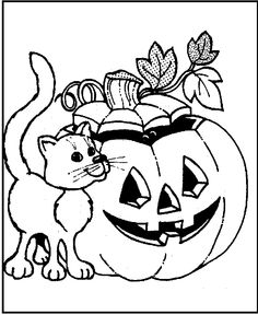 Happy Halloween For The Cat Coloring Pages Kids Printable