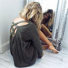 Autumn Fashion Back Crossed Hollow V-neck Irregular Oversized Sweater - Lupsona