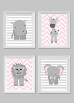 Zoo Nursery Decor, Gray and Pink Nursery, Girl Zoo Nursery, Elephant Nursery, Safari Nursery, Jungle Decor, Hippo, Giraffe, Zoo Canvas Art by SweetPeaNurseryArt on Etsy
