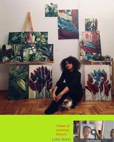 Me,some of my oil paintings and Frida ,one of my cats Oil Painters, Botanical Art, Photo Wall, Paintings, Cats, Artist, Photograph, Gatos, Paint