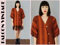 Vtg 70s 80s RUST Red Ethnic Tribal FRINGE Blanket Coat Boho Hippie L