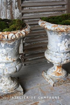Pair Cast Iron Urns at Atelier de Campagne 2 of the Best Antique Hunters!